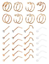 Milacolato 40pcs 20G 316L Stainless Steel Nose Ring Hoop Nose Stud Piercings Set Lip/Nose/Labret Piercing Jewelry