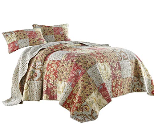 Chezmoi Collection Leslie 3-Piece Floral Patchwork Vintage Washed 100% Cotton Quilt Set, Queen