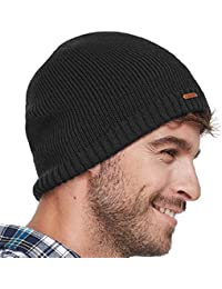 Fleece Lined Beanie Hat Mens Winter Solid Color Warm Knit Ski Skull Cap 8d8a50f1261f