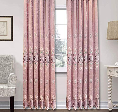 Crushed Chenille - BW0057 Luxury European Chenille Embroidery Lace Window Curtain Home Decoration Rod Pocket Panel Drape Bedroom Living Room Kids Room(1 Panel, W 50 x L 102 inch, Pink)