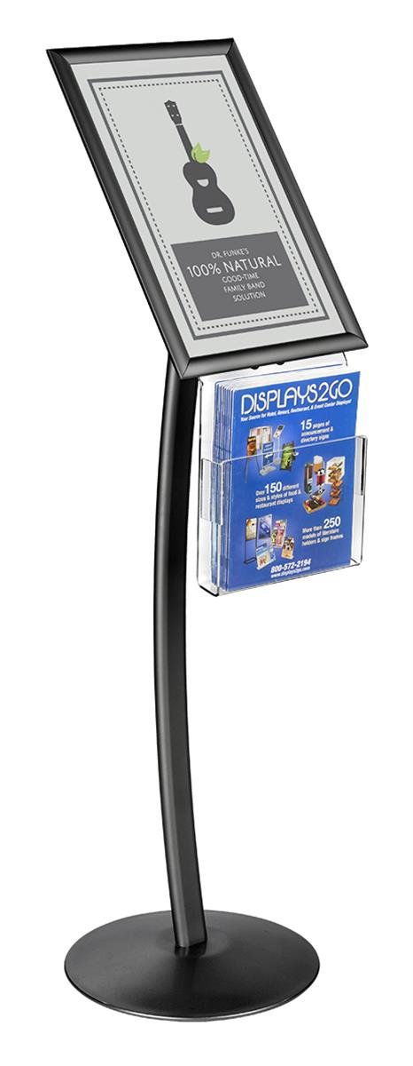 Displays2go CMB17NGWB Floor Sign Stand with Literature Pocket, Snap Frame for 11x17-Inch Poster, Black
