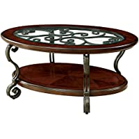 Furniture of America Azea Scrolled Leg Coffee Table in Brown Cherry
