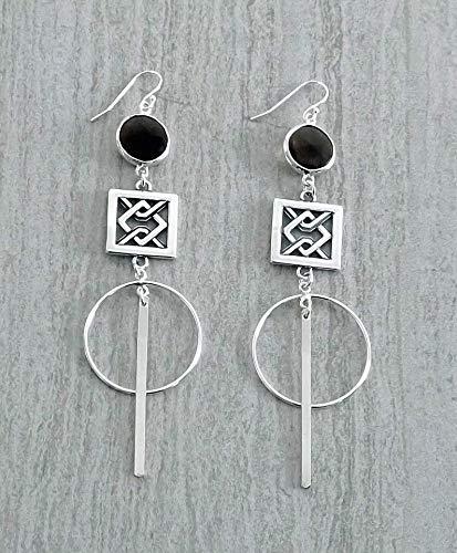 (Sterling Silver Brown Smoky Quartz Motif Long Hoop Bar Statement Earrings Gift For Her)