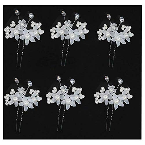 Set of 6pcs Faux Pearl Flower Bride Bridesmaid Bridal Hair Comb Pins Clips Headpiece U Shape with Rhinestone for Wedding, Prom, Dance Party or Special Event Gift