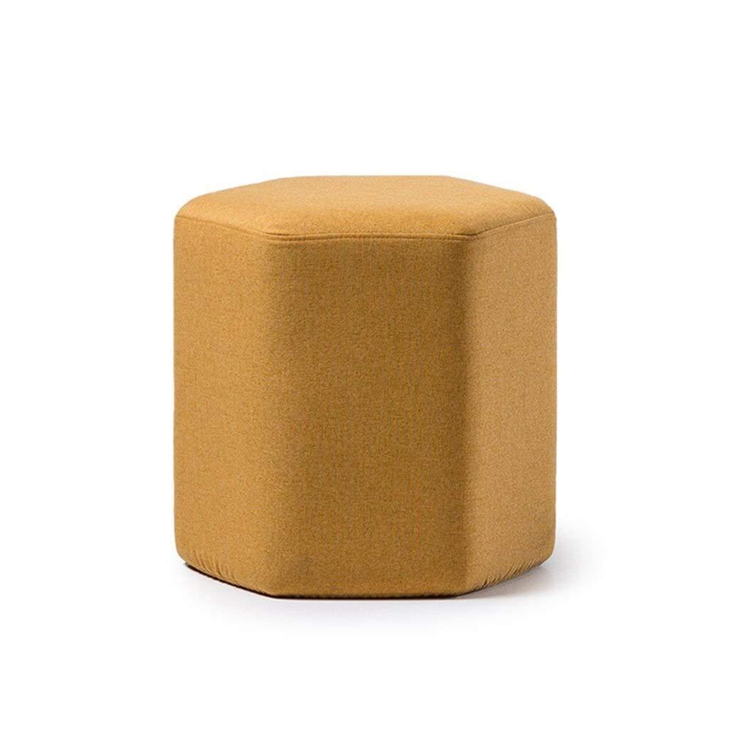 jaune  Tabouret Tabouret de salon Tabouret Pouffe Pouf hexagonal amovible Lin (Couleur   rouge)