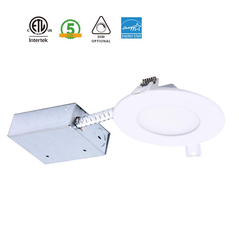 Amaxlite Ultra Thin Dimmable LED Recessed Lighting,4 Inches,11W (65W Equivalent),3000K (Warm White),750LM,80CRI, 5-year Warranty, Downlight with Junction Box (1 Pack)