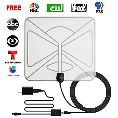 LeadTry ANT UB TV Antenna, Transparent Indoor Amplified Digital Antenna 50 Mile Range with Detachable Amplifier Signal Booster, USB Power Supply and 10FT High Performance Coaxial (Broadcast Tv Transmitter)