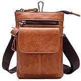 FANGDA Genuine Leather Brown Fanny Small Messenger Shoulder Satchel Waist Bag Pack for Men (Brown)