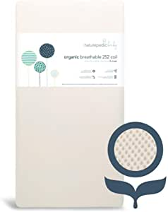 Naturepedic Breathable Organic Crib Mattress - 2-Stage - 252 Coil - Baby & Toddler Bed - with Protector Pad