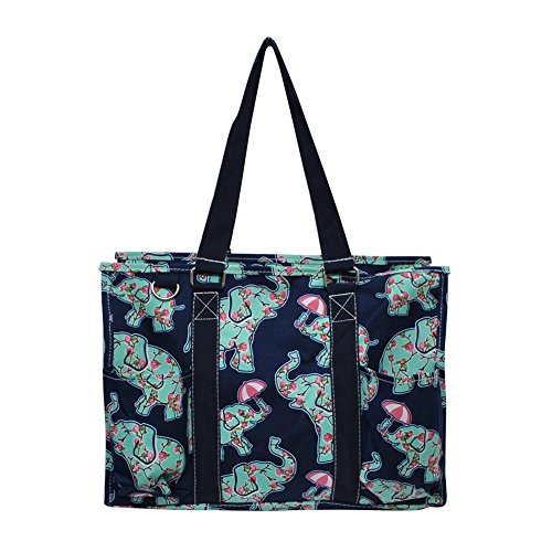 (N Gil All Purpose Organizer Medium Utility Tote Bag 3 (EPN Umbrella Elephant Navy Blue))