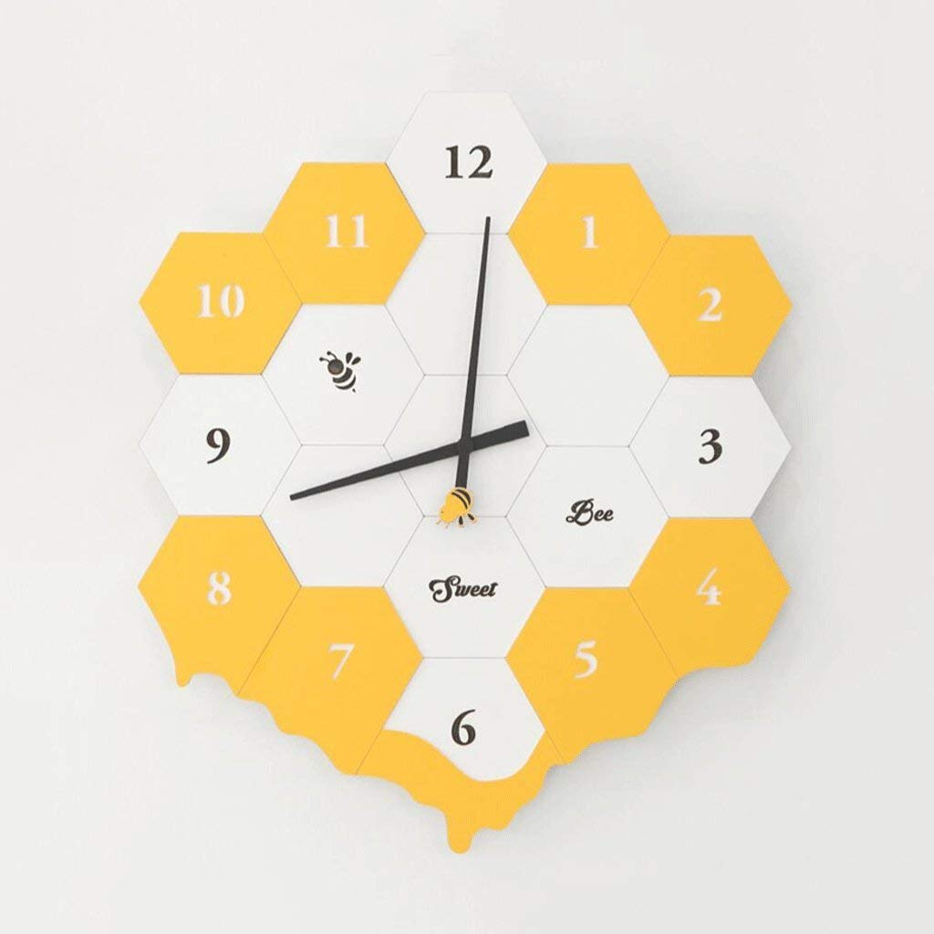 YHEGV Personality of The Color Yellow Lounge Room Wall Clock establishes Children Crib