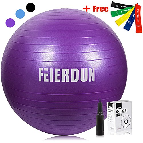 Exercise Ball - Anti Burst Tested yoga ball Supports 240lbs,Includes Exercise Resistance...