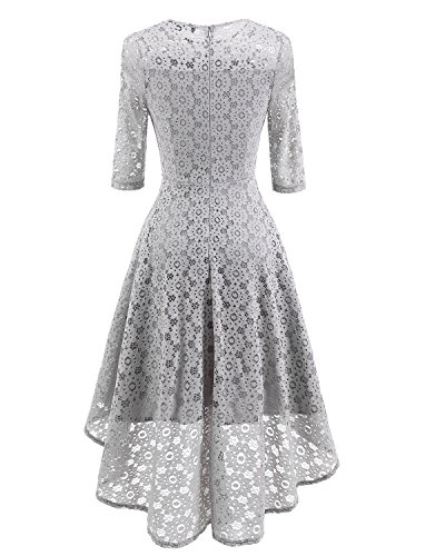 Boat Elegant Cocktail Adodress Homecoming Gray 2 Swing lace1 Neck Dresses Sleeve Women's Formal Long S5qwCTY