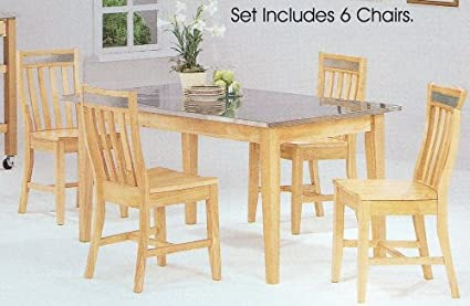 Amazon.com: 7pc Natural Finish Stainless Steel Dining Table ...
