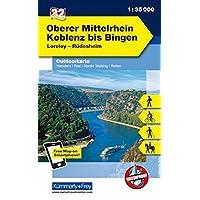 Deutschland Outdoorkarte 32 Oberer Mittelrhein, Koblenz bis Bingen 1 : 35.000: Loreley-Rüdesheim. Wanderwege, Radwanderwege, Nordic Walking, Reiten (Kümmerly+Frey Outdoorkarten Deutschland)