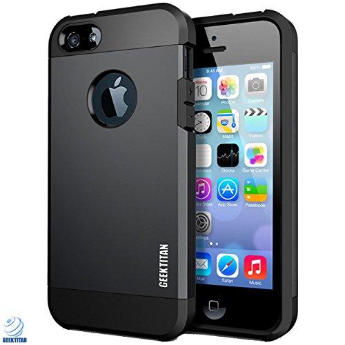 Apple iPhone 5/5s Case by GeekTitan-Metallic Black