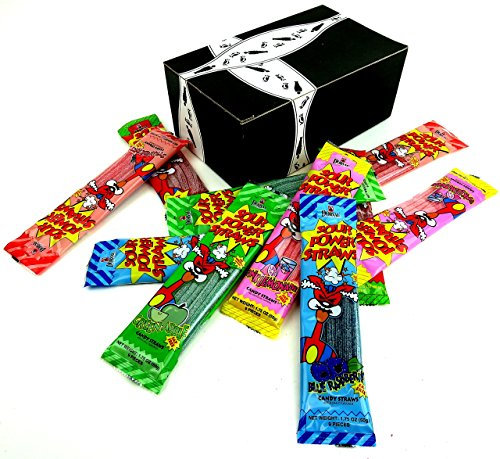 Dorval Sour Power Straws 5-Flavor Variety: Two 1.75 oz Packages Each of Green Apple, Strawberry, Pink Lemonade, Blue Raspberry, and Watermelon in a Gift Box (10 Items Total) (Power Straws Sour)