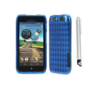 GTMax Blue Checker Silicone Gel Case Cover + Universal Stylus with Flat Tip for Motorola Atrix HD MB886