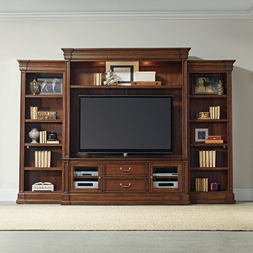 """Hooker Furniture Clermont 4-Piece 129"""" Entertainment Center in Warm Cherry from Hooker Furniture"""