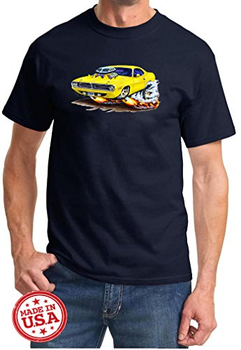 Maddmax Car Art 1970 Plymouth Cuda Cartoon Muscle Car Design Tshirt XL Navy Blue