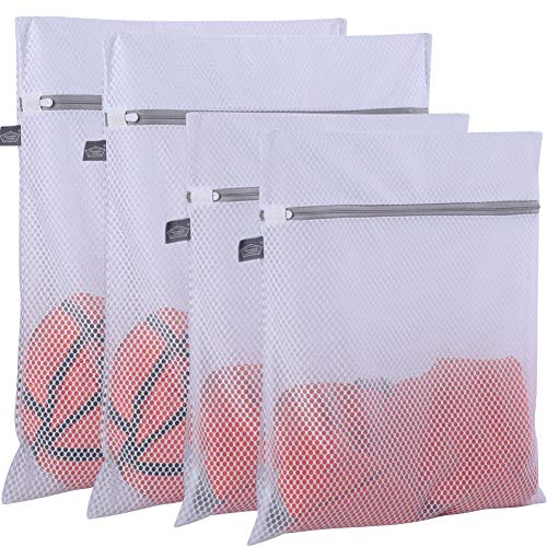 Extra Large Honeycomb Mesh Laundry Bag- Pack of 4 (2 Extra Large + 2 Large ) 125gsm Net Fabric Durable and Reusable Delicate Wash Bag,Travel Organization Bag for Lingerie,Clothes,Jeans,Bath Towel,Sock