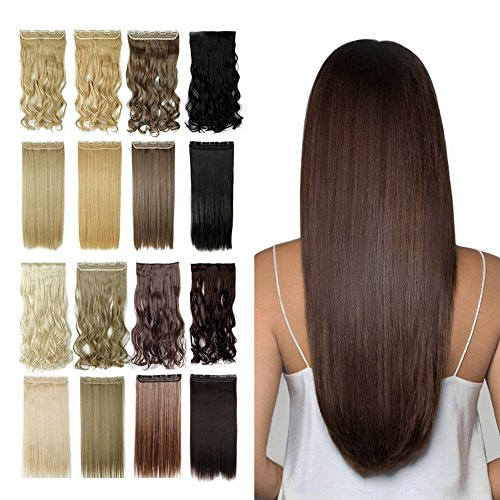 Clip in Hair Extensions 23'' Dark Brown Long Straight Full H