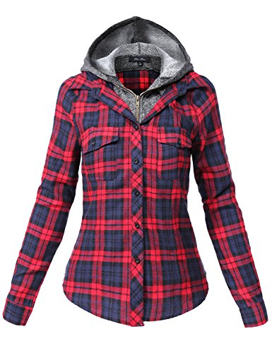 Undetachable Two Tone Terry Mixed Hoodie Plaid Shirts,137-red_navy,Small