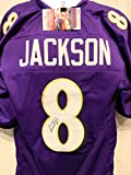 Lamar Jackson Baltimore Ravens Signed Autograph Purple Custom Jersey JSA Witnessed Certified