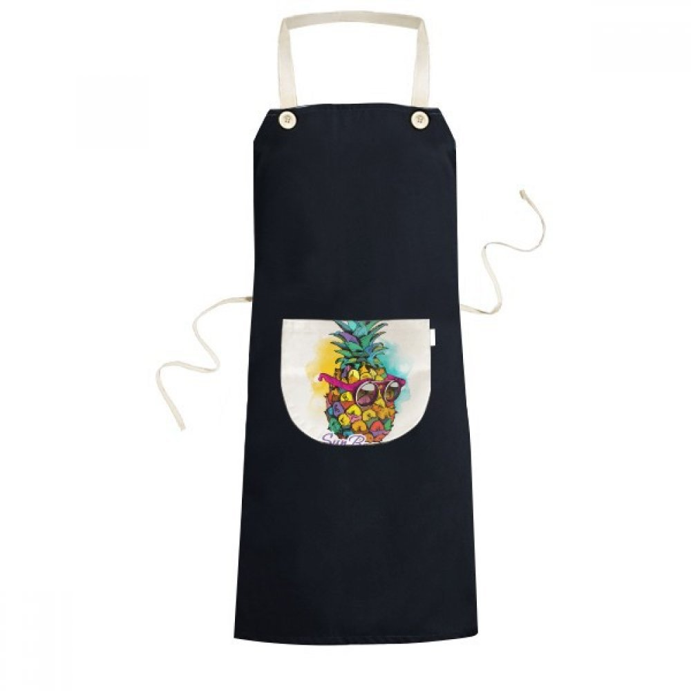 DIYthinker Sunglasses Pineapple Tropical Style Fruit Cooking Kitchen Black Bib Aprons With Pocket for Women Men Chef Gifts