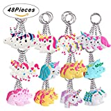 SUPRBIRD Rainbow Unicorn Keychains Pack 48PCS, Birthday Party Favor Unicorn Goody Bags Supplies Key Chains Pack, Christmas Goody Bag Toys Decoration Novelty Gift