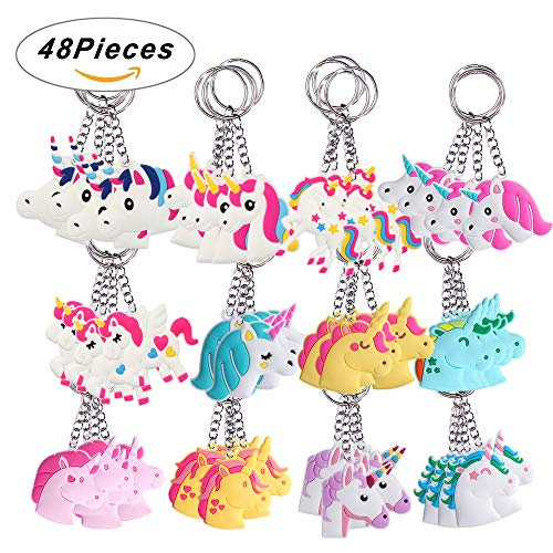 (SUPRBIRD Rainbow Unicorn Keychains Pack 48PCS, Birthday Party Favor Unicorn Goody Bags Supplies Key Chains Pack, Christmas Goody Bag Toys Decoration Novelty)
