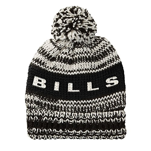 - Touch by Alyssa Milano NFL Buffalo Bills Moto Marled Pompster Beanie, One Size, Black/White