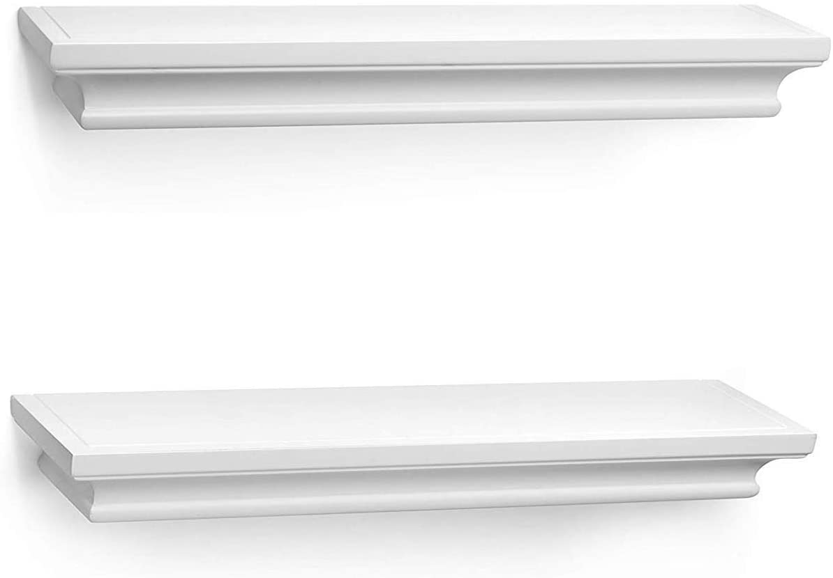 BOMID White Floating Shelves Wall Shelves,Crown Molding Wall Mounted Mantle Shelf of Molding Ledge Wall Shelves Set of 2, 17 Inch (White)