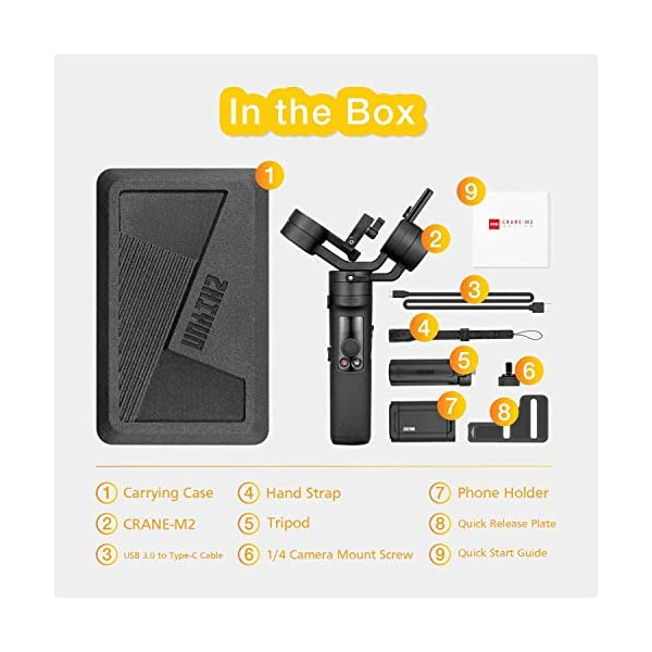 Zhiyun Crane-M2 (Crane M Upgraded Version) Handheld 3-Axis Gimbal Stabilizer Compatible with Smartphone iPhone Android, Gopro 7 6 5, DC Mirrorless Camera, 130g - 720g Payload 7 spesavip