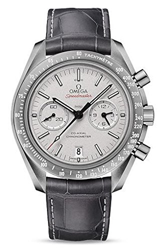 - Omega Speedmaster Professional Grey Side of The Moon Chronograph Automatic Sandblasted Platinum Dial Grey Leather Mens Watch 31193445199001