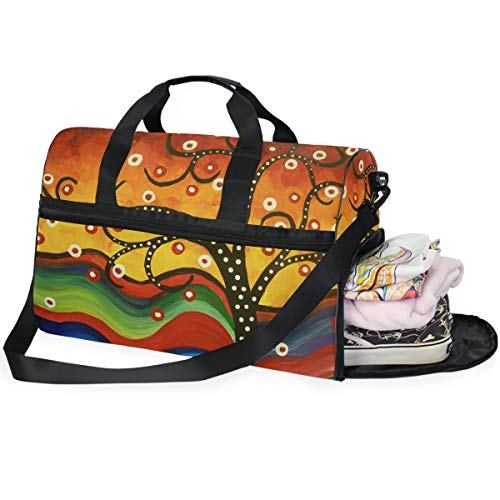 - MONTOJ Abstract Art Tree Pattern Oversized Canvas Travel Tote Duffel Shoulder Overnight Weekend Bag