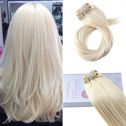 Moresoo Clip in Real Hair Extentions 20 inch Straight Clip i