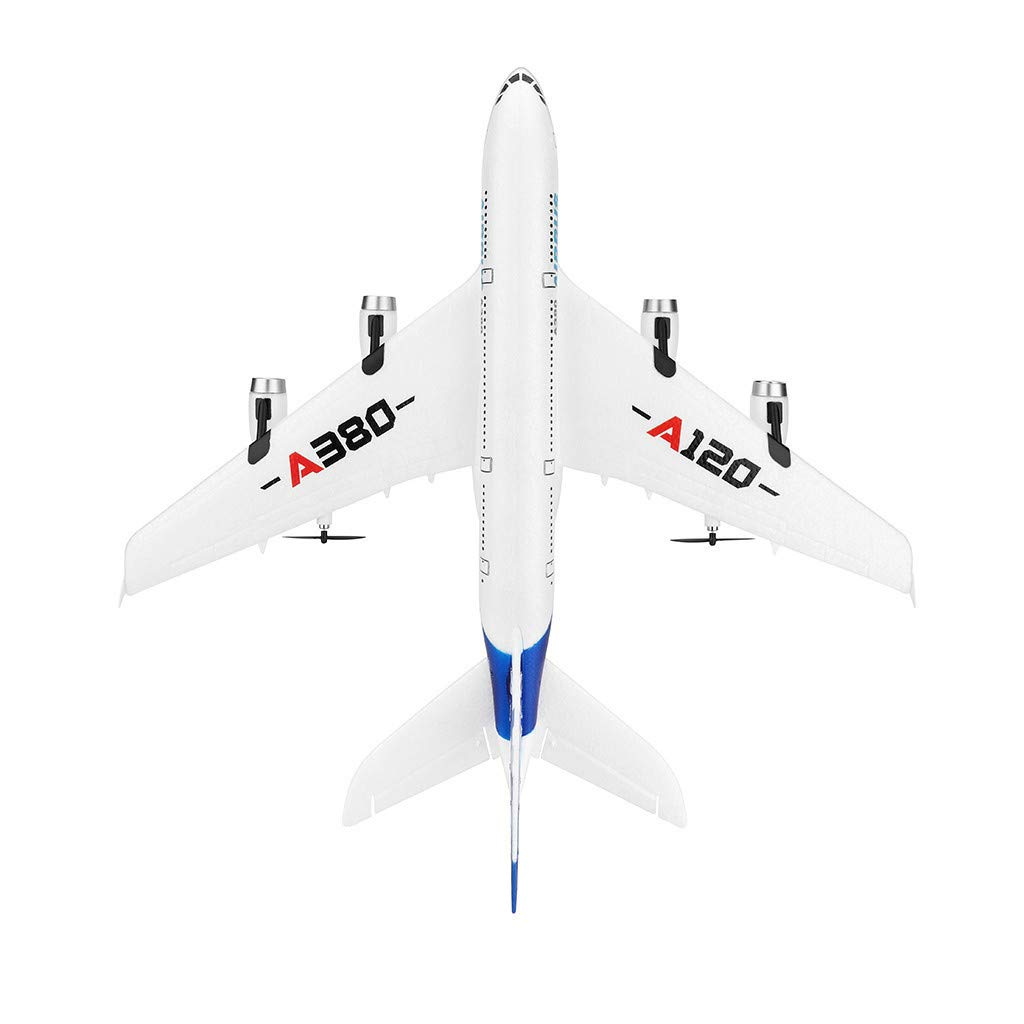 WWFFOO WLTOYS A120-A380 2.4GHz 510mm Wingspan 3CH RC Airplane Fixed Wing RTF Safe Technology Flight Beginners Remote Control Built-in Six-axis Gyroscope Flight Self-stabilization System (White)