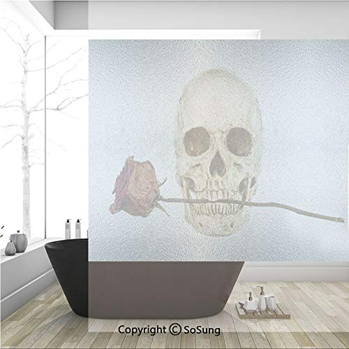 3D Decorative Privacy Window Films,Skull with Dry Red Rose in Teeth Anatomy Death Eye Socket Jawbone Halloween Art Decorative,No-Glue Self Static Cling Glass film for Home Bedroom Bathroom Kitchen Off]()