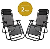 LETTUCE EAT Set of 2 Black Heavy Duty Textoline Zero Gravity Chairs & Free Table Garden Sunloungers Folding Reclining Chairs Lounger Deck Chairs(9644)