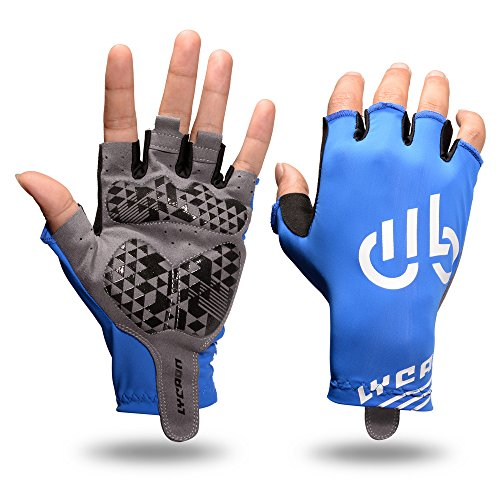 LYCAON Cycling Gloves (Gel-Padded, Non-Slip, Breathable) Riding Biking Half Finger Pad Gloves for Folding BMX Road Bike Cruiser Mountain Bike MTB Scooter Cycling Outdoor Gym Exercise (Blue, X-Large)