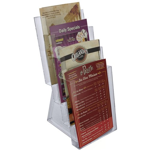 Azar 252307 Four-Tier Bi-Fold Size Brochure Holder for Counter, 2-Pack by Azar Displays