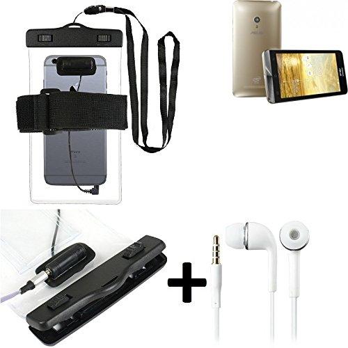 Estuche estanco al agua con entrada de auriculares para Asus ZenFone 5 + auricular incluido, transparente | Trotar bolsa de playa al aire libre caja brazalete del teléfono caso de cáscara bajo playa -