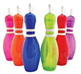 Large Bowling Pin Water Bottles Assorted Colors - 6 Pack