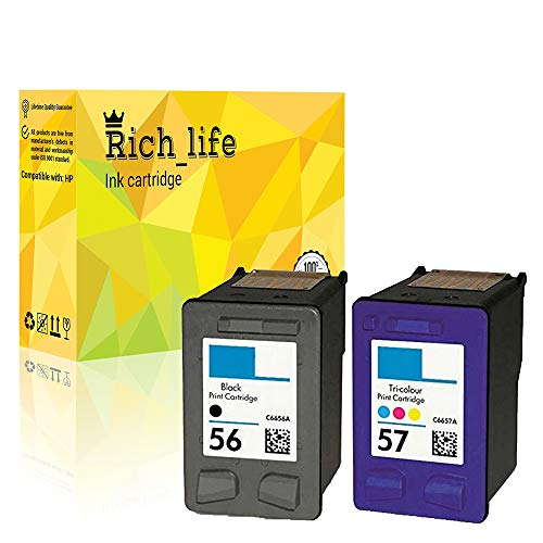 - Rich_life Compatible Ink Cartridge Replacement for HP C6657AN  ( Black, Cyan, Yellow, Magenta , 2 pk )