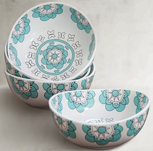 Porcelain Bowl Set 4 for Soup Cereal Rice, Hand Made Floral Pattern Decorative Bowls, Mint Blue Turquoise Rice