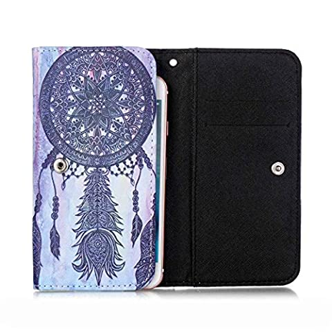 MaxWest Astro X55 Case,[Black Dream Catcher] Style Universal Smartphone Flip Wallet Clutch Bag Carrying PU Leather Protective Cover for MaxWest Astro (Maxwest Phone Case)