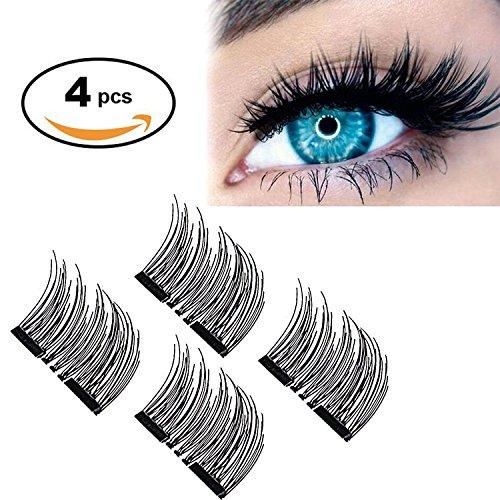 1eb66f11004 【Upgrade】Long Dual Magnetic False Eyelashes -Ultra Thin 3D Fiber Reusable  magnetic eyelashes, Perfect for Deep & Round Eyes (4 Pcs Long)