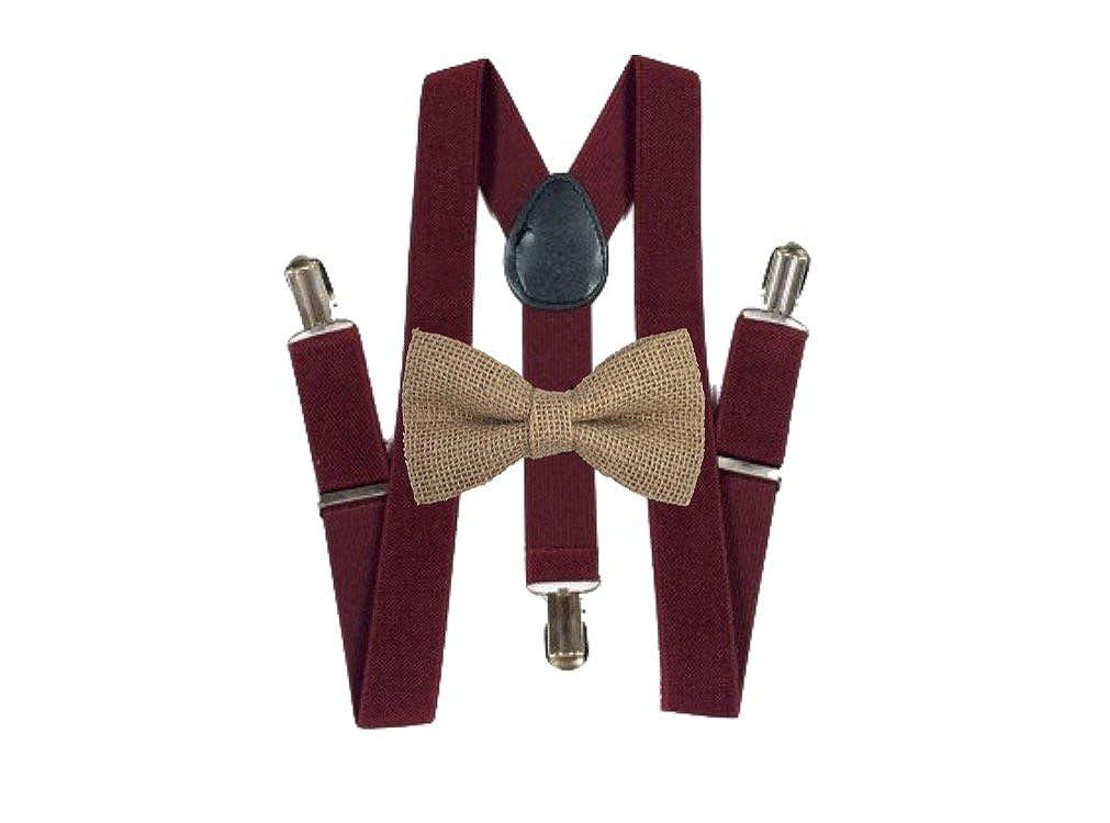 Burlap Bow ties and burgundy suspenders Set Combo Mens