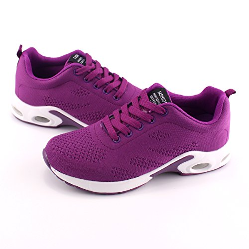 Trainers Purple Womens Eveaily Lightweight Thick Sports Gym Jogging Sneaker Running Air Shoes Shoes Cushion Shoes Bottom qRqpxn4